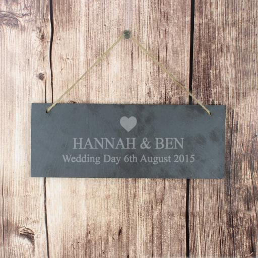 Engraved Heart Motif Slate Door Plaque