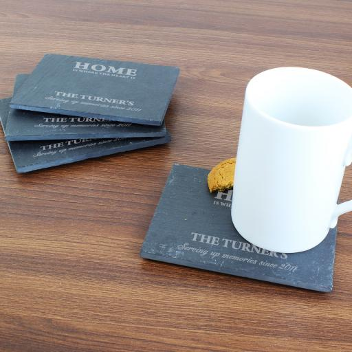 Engraved Home 4 Pack of Slate Coasters