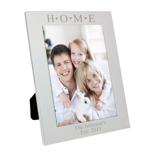 Engraved Silver 'Home and Hearts' Frame