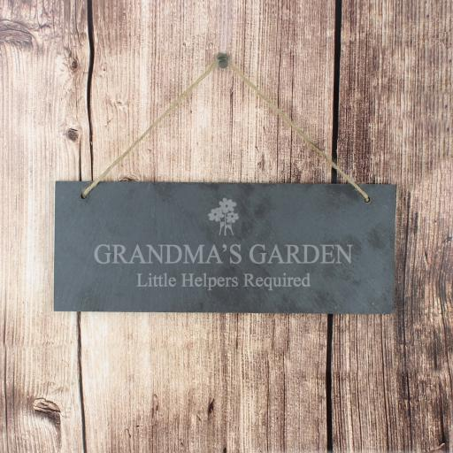 Engraved Flower Motif Slate Door Plaque