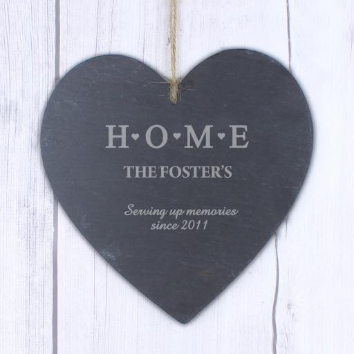 Engraved HOME Large Slate Heart Decoration
