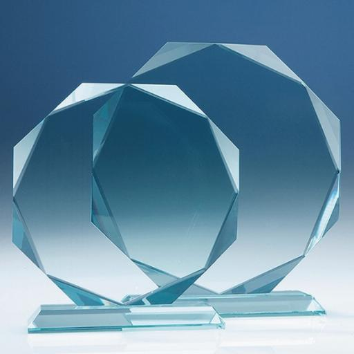 14.5cm x 15mm Jade Glass Facetted Octagon Award