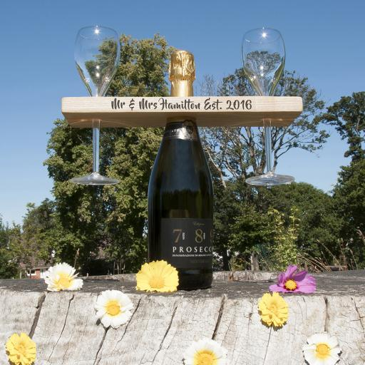 Personalised Welsh Ash Champagne Holder - Script
