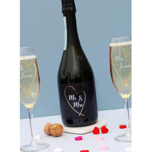 Mr & Mrs Gold Heart Prosecco Gift Set