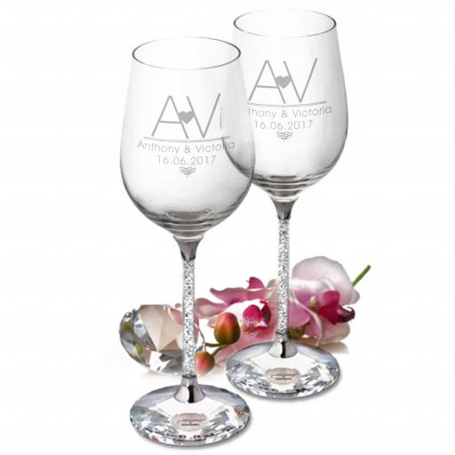 Initial Heart Diamante Wine Glasses