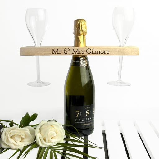 Personalised Welsh Ash Champagne Holder - Serif
