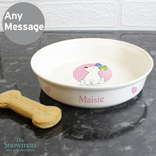 Personalised The Snowdog Pink Pet Bowl